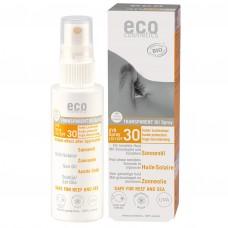 Eco Cosmetics caurspīdīgs eļļas saules aizsargsprejs  ar SPF 30, 50ml