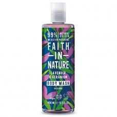 Faith in Nature lavandas / ģerānijas dušas želeja / vannas putas, 400ml
