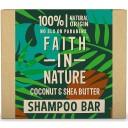 Faith in Nature cietais šampūns / šampūnziepes ar kokosriekstu eļļu un šī sviestu, 85g