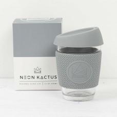 Neon Kactus stikla kafijas krūze ar videi draudzīgu silikona vāciņu un apvalku, Gray, 340ml