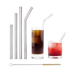 Halm stikla kokteiļu salmiņi, dažādu formu un izmēru, 4gb + birste