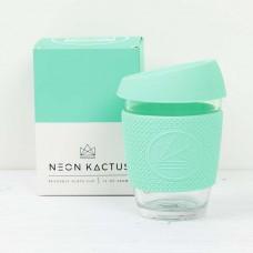 Neon Kactus stikla kafijas krūze ar videi draudzīgu silikona vāciņu un apvalku, Free Spirit, 340ml