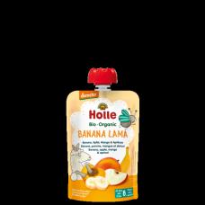 """Holle BIO banānu, ābolu, mango un aprikožu biezenis """"Banana Lama"""" no 6 mēn., 100g"""