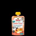 """Holle BIO persiku, aprikožu, banānu biezenis ar plēkšņu kviešiem """"Panda Peach"""", no 8 mēn. 100g"""