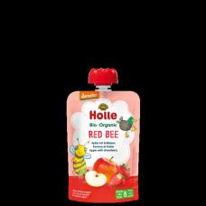 """Holle BIO ābolu biezenis ar zemenēm  """"Red Bee"""" no 6 mēn., 100g"""