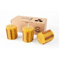 Emīlijas Bišu Vasks Bee Light komplekts bišu vaska smaržu svece ar kanēli, 3gb.