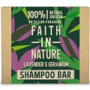 Faith in Nature cietais šampūns / šampūnziepes ar lavandu un ģerāniju, 85g